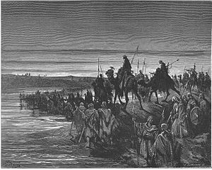 English: The Israelites Cross the Jordan River...