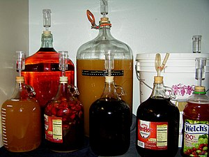 English: Various common fermentation vessels f...