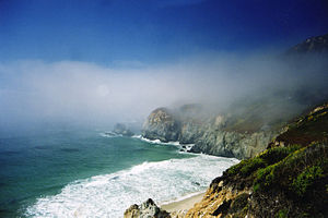 Big Sur and fog on a typical day in June.
