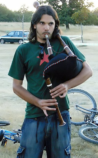 A piper with his gaita sanabresa