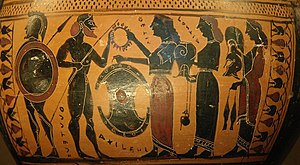 Thetis gives her son Achilles his weapons newl...