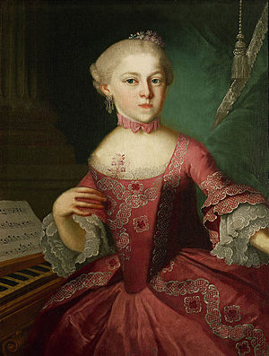 Nannerl as a child (1763); portrait said to be by Lorenzoni.  For the counterpart portrait of Wolfgang, painted at the same time, see Wolfgang Amadeus Mozart.