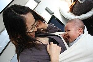 English: mom and baby