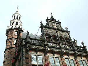 The old townhall of The Hague. The statues on ...