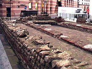 English: Relocated ruins of the Mithras temple...