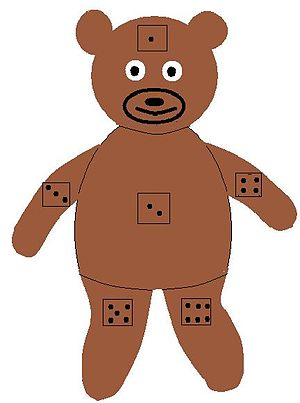 English: Teddy bear with dice on body parts fo...