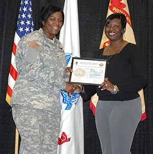 Col. Lillian Dixon, garrison commander, presen...
