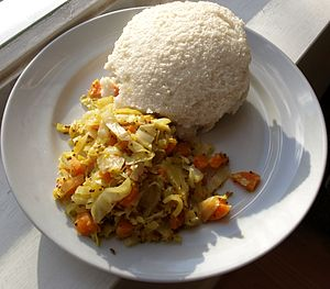 English: Uglai and cabbage. Ugali (also someti...