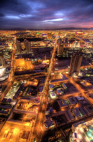Night-time shot from the Stratosphere in Las V...