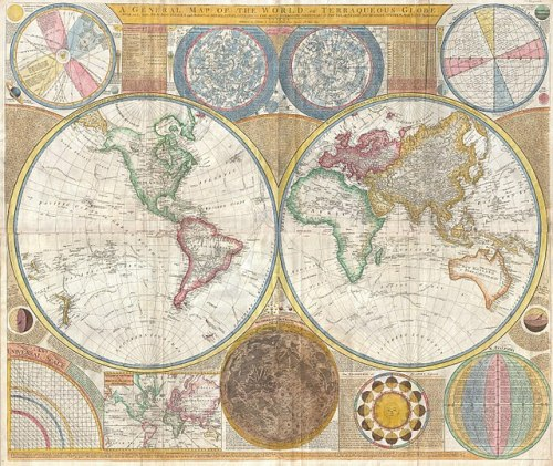 1794 Samuel Dunn Wall Map of the World in Hemispheres - Geographicus - World2-dunn-1794