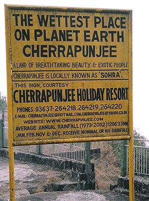 Highest Rainfall in the world in cherrapunjee