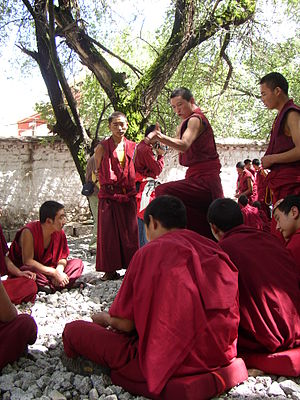 Debating monks at Sera Monastery, Tibet