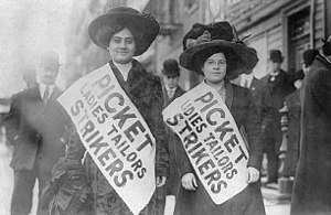 Two women strikers on picket line during the &...