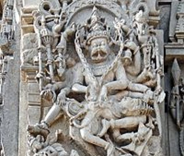 A Relief At 12th Century Chennakesava Temple Karnataka Depicting The Purana Story Of Narasimha Destroying A Demon King Who Persecutes His Subjects And Son