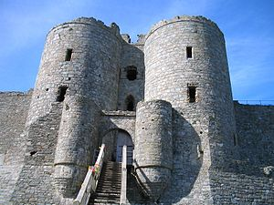 The main gatehouse of Harlech Castle. The step...