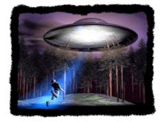 Ilustrasi seniman yang menggambarkan adegan diculiknya Travis Walton oleh benda terbang tak dikenal yang menyorotkan cahaya.