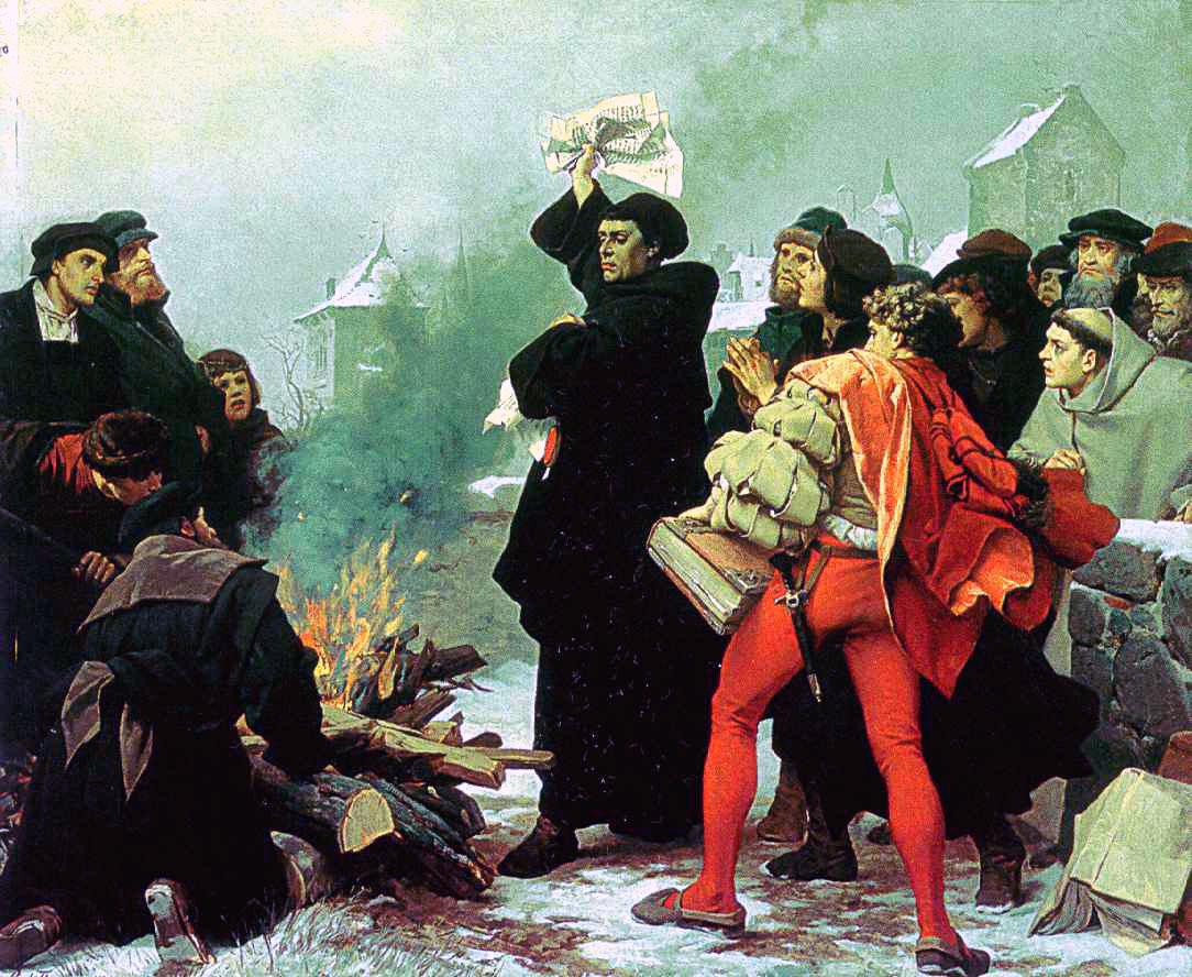 Luther beim verbrennen einer Papstbulle. In jedem Kulturkampf waren Bücherverbrennungen und Verbotsorgien nichts ungewöhnliches. Auch die Reformation war eine Kulturrevolution, die zu solchen Mitteln griff.  Das moralische Urteil indes, fällt immer der Sieger.