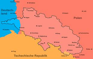 """Die Provinz Schlesien mit den heutigen Staatsgrenzen (Zu sehen ist der Preußische Teil ohne die damals bei Österreich verbliebenen Gebiete, wie Ostrau, Teschen oder Bielitz. Siehe dazu die Karte im Artikel """"Österreichisch-Schlesien"""".)"""