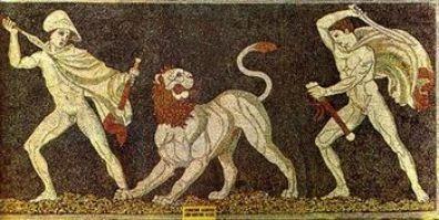 Ο Ηφαιστίων και ο Αλέξανδρος σε κυνήγι