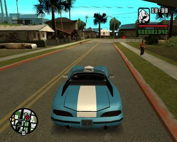 The player driving towards the Grove Street cu...