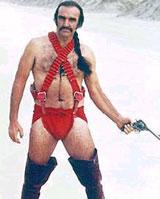 Sean Connery in an orange loincloth in Zardoz