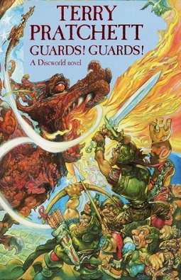A dragon on the cover of Terry Pratchett's Gua...