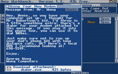 A screenshot of the game, showing the Amie int...