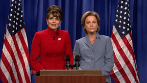 Tina Fey as Sarah Palin (left) and Amy Poehler...