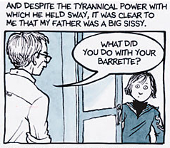 A panel from Fun Home. Bruce (left) and Alison...
