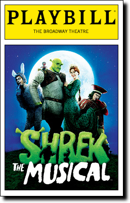 Playbill magazine cover featuring Shrek the Mu...