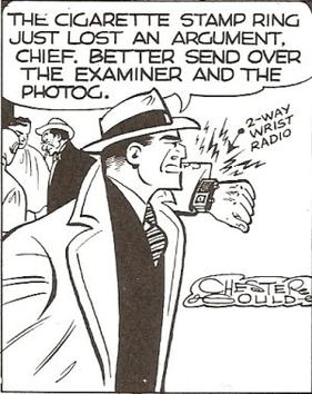 Dick uses his famous 2-way wrist radio in Dick Tracy: America's Most Famous Detective. (1952)