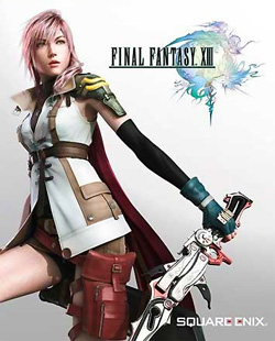 A woman with a long cape wields a sword. On the right, two figures surrounding a planet is positioned near the center of the Final Fantasy XIII logo. The logo is done in a pastel watercolor style