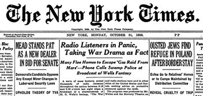La prima pagina del NYT, 31.10.1938