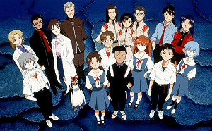The cast of Neon Genesis Evangelion as depicte...