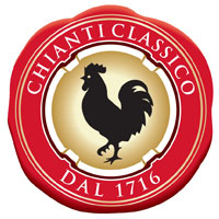 The gallo nero seal of the Consorzio Chianti C...