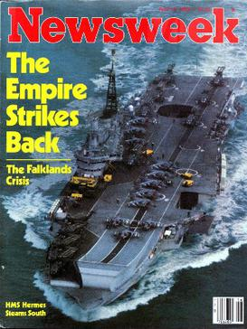 Newsweek magazine cover, 19 April 1982. HMS He...