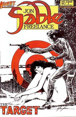 Cover to Jon Sable Freelance #7. Art by Mike G...