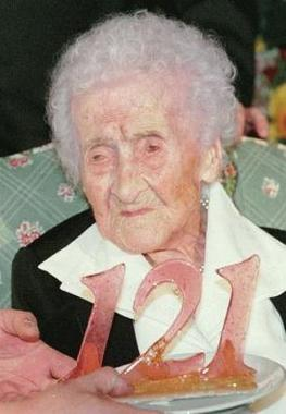 Jeanne Calment on her 121st birthday