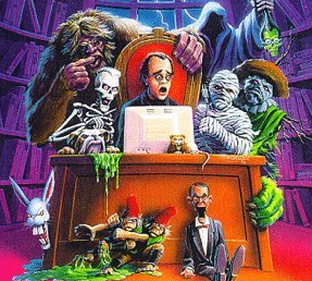 An illustration of R. L. Stine with some of hi...