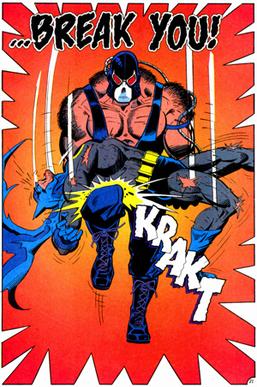Bane breaks Batman's back in a splash page fro...