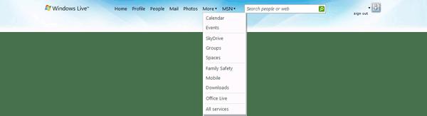 Windows Live 3.0 header
