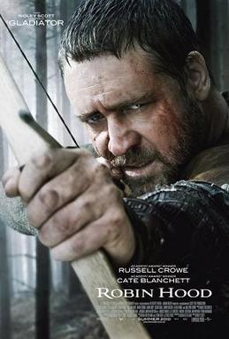 Pòster del film Robin Hood de Ridley Scott, amb l'actor Russell Crowe tensant un arc en el paper de Robin de Loxley