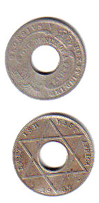 One-tenth penny coins from British West Africa...