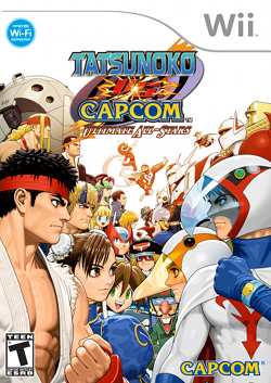 Image of Capcom and Tatsunoko characters gathered on the left and right-side respectively. They face each other amidst a white background.