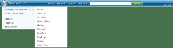 Windows Live 2.0 header