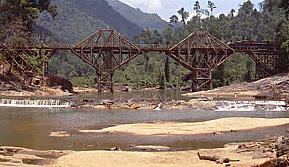 A scene in the film, bridge at Kitulgala in Sr...