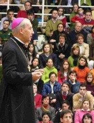 Bishop Echevarria in a get-together with the f...