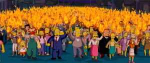 The shot of an angry mob coming for Homer feat...