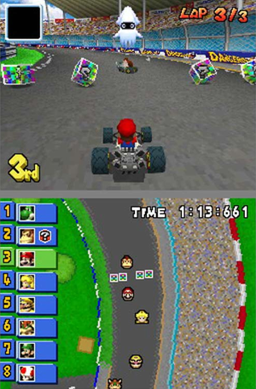 Mario racing on the Figure-8 Circuit track. It...