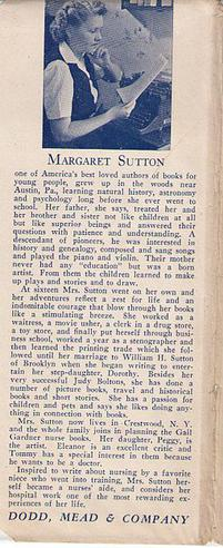 Margaret Sutton biography, c.1944, from flap o...